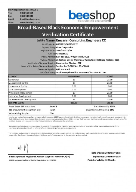 BEE Certificate - Page 1